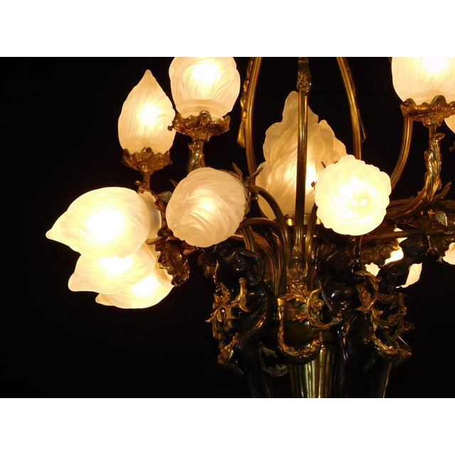 Art Deco Antique Bronze Maidens Flame Globe Chandelier For Sale - Image 3 of 13