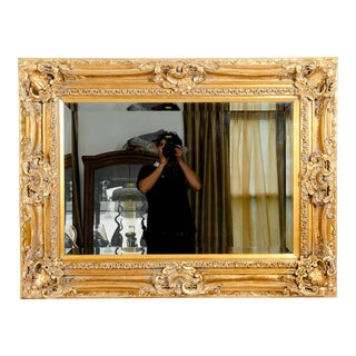 Mid-20th Century Gilt Wood Frame Bevelled Hanging Mirror For Sale