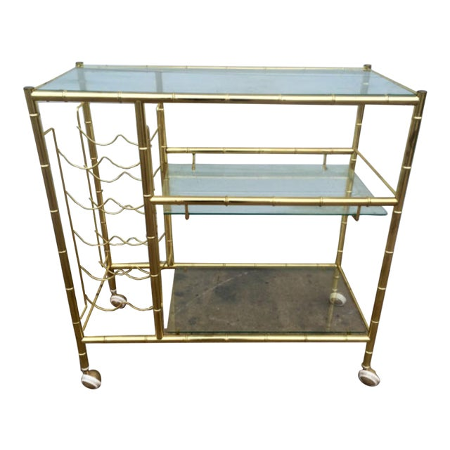 Brass Faux Bamboo Bar Cart - Image 1 of 6