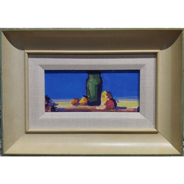 "Conrad Buff - Deep Blue Sky Landscape - oil painting oil painting on cardboard frame size 14 x 10"" card board size 4x8""..."
