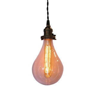 Contemporary Light Bulb Glass Shade Pendant For Sale