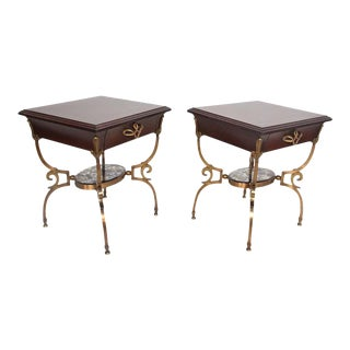 French Arturo Pani Bronze & Mahogany Nightstands - a Pair For Sale