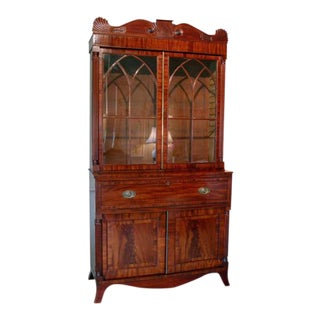 English William IV Mahogany Secretary Bookcase For Sale