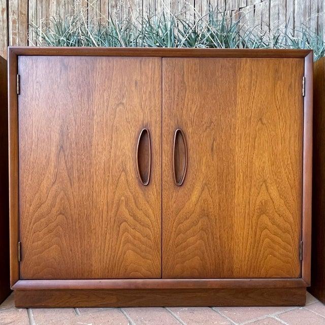 Wood Henredon 'Circa 60' Walnut Cabinets - Set of 3 For Sale - Image 7 of 13