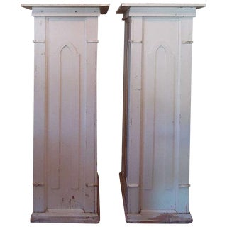 On SALE-Pair of 4 Ft. + Gothic Architectural Pedestals From a Church For Sale