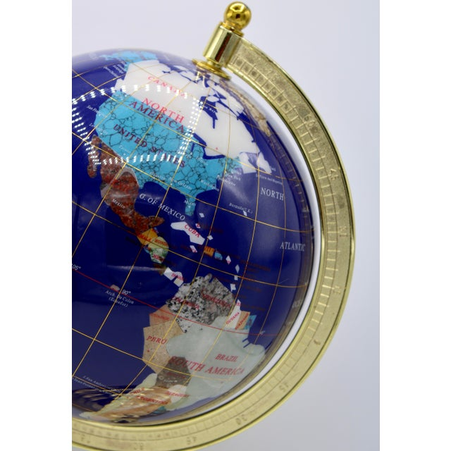 Metal Vintage Blue Lapis World Globe on Brass Stand With Semiprecious Gems For Sale - Image 7 of 13