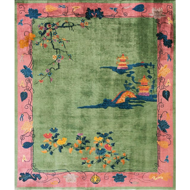 1920s Antique Chinese Art Deco Rug- 8′ × 9′6″ For Sale - Image 5 of 5