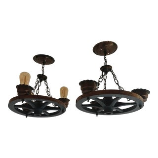 Pair of Vintage Wagon Wheel Light Fixtures For Sale
