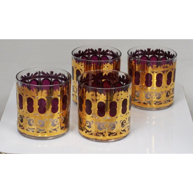 """1960s Culver Hollywood Regency """"Cranberry Scroll"""" Cocktail Glasses For Sale - Image 5 of 5"""