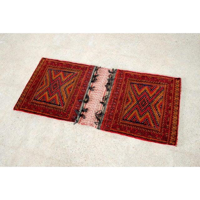 "Antique Balochistan Wool Tribal Saddlebag Rug - 1'8"" x 3'8"" For Sale In Detroit - Image 6 of 12"