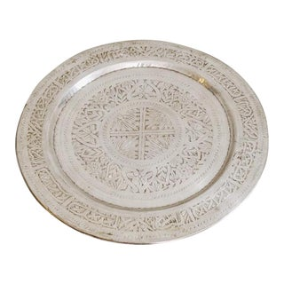 Moroccan Silver Metal Serving Tray For Sale