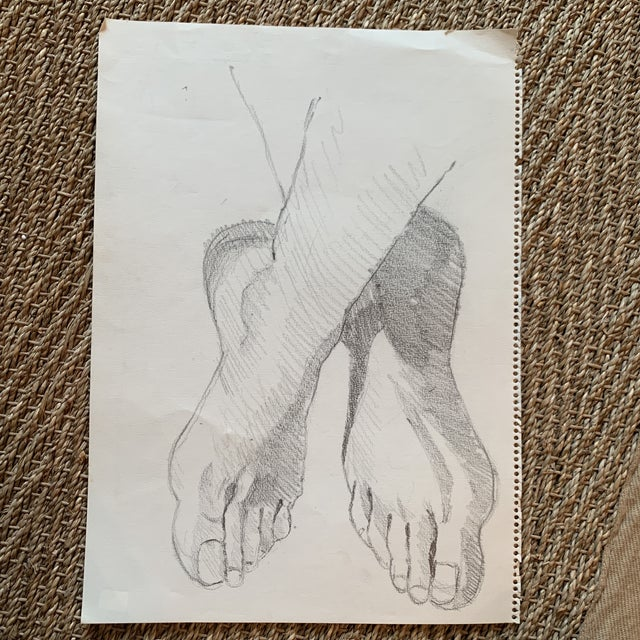 1970s Graphite Artists Study of Feet Classical Style For Sale - Image 4 of 8