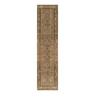 "Apadana - Vintage 1940s Tan/Beige Persian Malayer Carpet, 3'5"" x 14' For Sale"