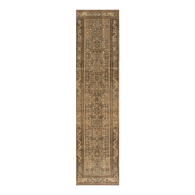 "Apadana - Vintage 1940s Tan/Beige Persian Malayer Carpet, 3'5"" x 14' For Sale"