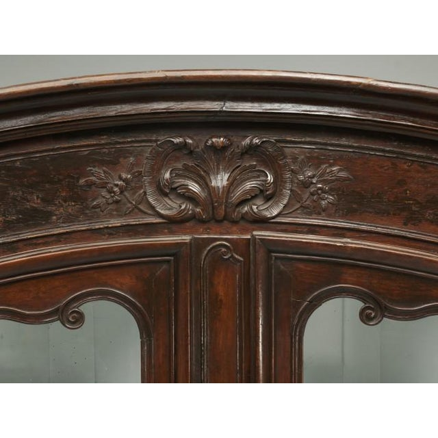 Glass Antique French Walnut Armoire or China Cabinet For Sale - Image 7 of 13