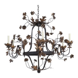 1960s Italian Vintage Provincial Gilt Iron Chandelier For Sale