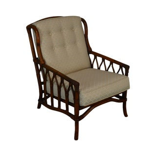 Ficks Reed Rattan Gothic Inspired Lounge Chair For Sale