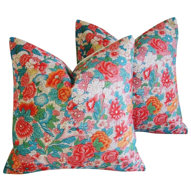Sale! 4 Summer Floral Linen Pillow Covers - Set 4 - Image 1 of 9