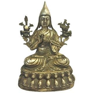 Silvered Bronze Tibetan Statue of Teacher, Tsonkapa For Sale