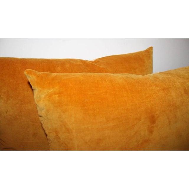 Modern Pair of Sunrise Orange Velvet Pillows For Sale - Image 3 of 7