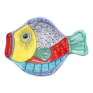 "Vietri Hand Painted Italian Pottery Fish Plate 10"" For Sale"