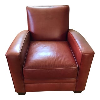 Art Deco Red Leather Chair For Sale