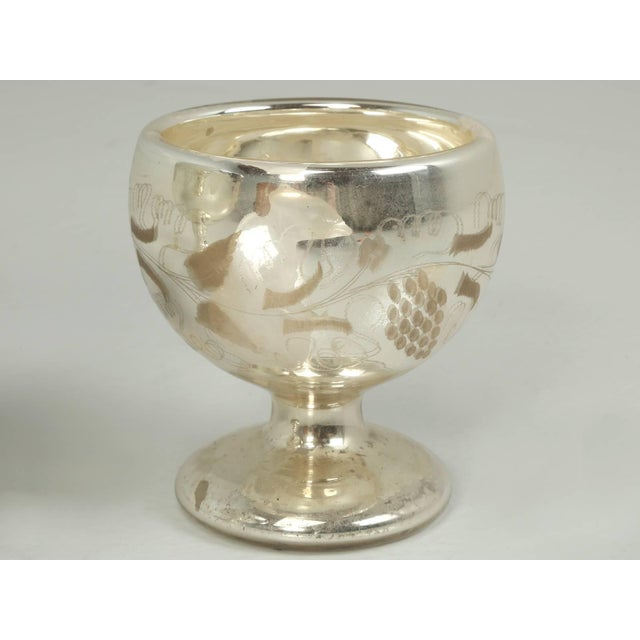 1940s Vintage Mercury Glass Compote with Etched Grapes For Sale - Image 5 of 10