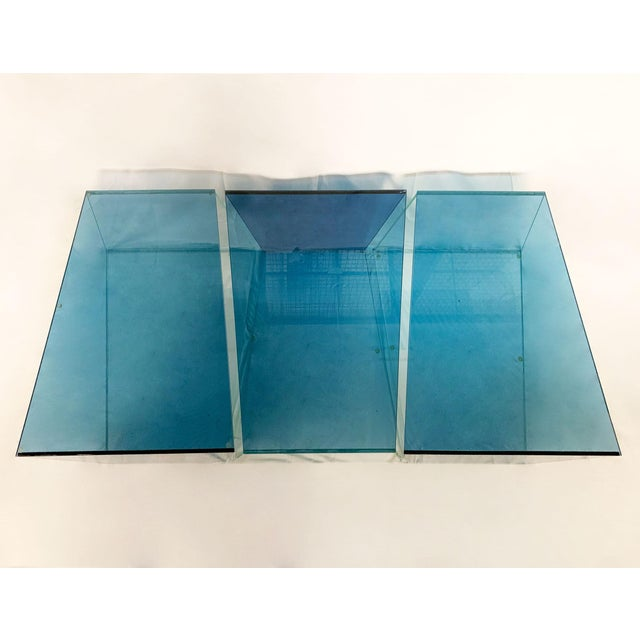 Mid-Century Modern 1970s Contemporary Geometric Blue and Clear Glass 3 Piece Coffee Table For Sale - Image 3 of 12