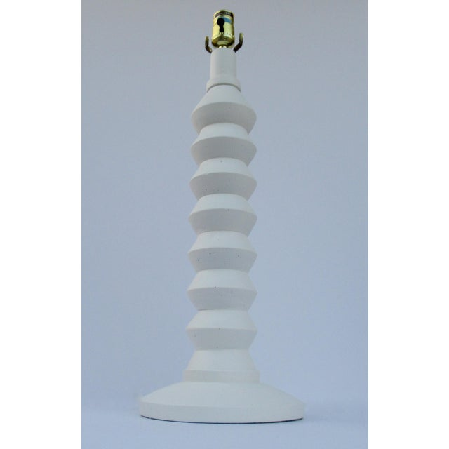 Abstract Mid-Century Plaster Zig-Zag Tiered Lamp For Sale - Image 3 of 13