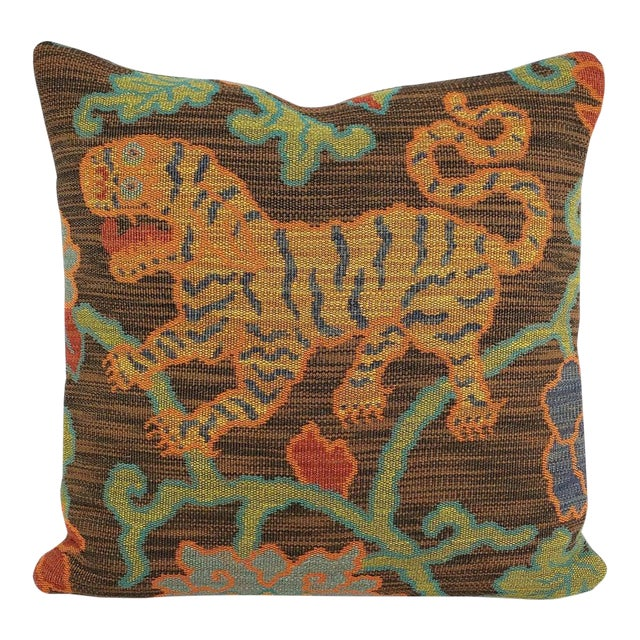 "F. Schumacher Khotan Weave in the Color Sable Square Pillow Cover - 20"" X 20"" Brown, Orange, Blue, Tiger Weave Throw Cushion Case For Sale"