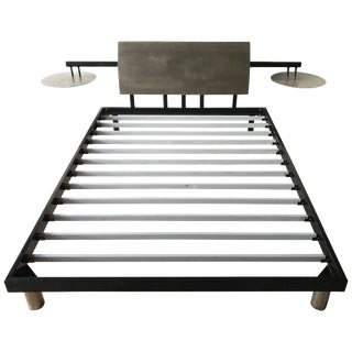 Post-Modern Steel Queen Bed With Integrated Floating Nightstands For Sale