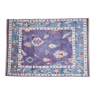 """Vintage Turkish Hand Woven Oushak Rug With Allover Design and Silky Soft Texture,6'2""""x9' For Sale"""