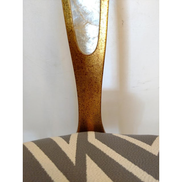 1960's Cathedral Arch-Backed Side Chairs, Gold-Leafed/ Shell Inlaid, a Pair For Sale - Image 9 of 12
