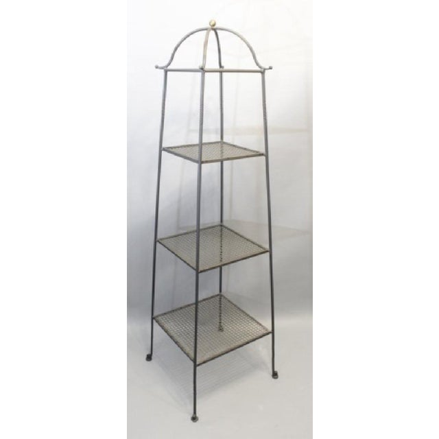 Triple-Tiered Black Wrought Iron Stand For Sale In New York - Image 6 of 6