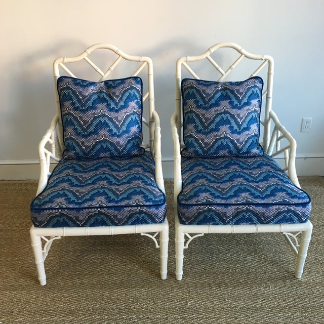 Vintage White Faux Bamboo Club Chairs - A Pair - Image 2 of 7
