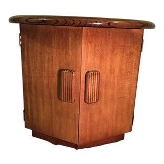 1970s Vintage Lane Furniture Inlay Wood Hexagon Storage Side Table For Sale