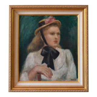 Antique Original Young Lady Portrait Oil Painting in Gilded Frame For Sale