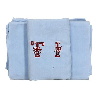 "Antique French Linen ""T I"" Napkins, S/6 For Sale"