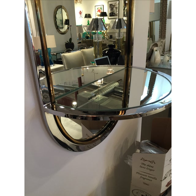 Mid Century Modern Design Institute America Chrome & Brass Mirror with Mirror Console - Image 6 of 11