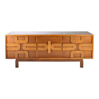 1960s Sculptural Aztec Mosaic Front 9 Drawer Dresser by Lane Altavista For Sale