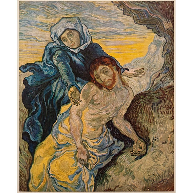 """An excellent vintage tipped-in lithograph """"Pieta"""" (After Delacroix, September 1889) by Vincent Van Gogh. Signed in the..."""