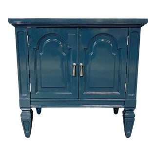 1970s Blue Lacquer Nightstand For Sale