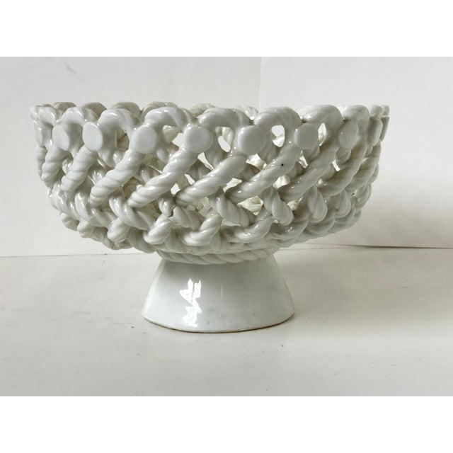White Italian Woven Rope White Ceramic Compote For Sale - Image 8 of 12