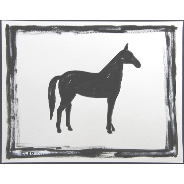 An abstract horse painting in black on a white background. A contemporary must for any horse lover. Gouache on Strathmore...