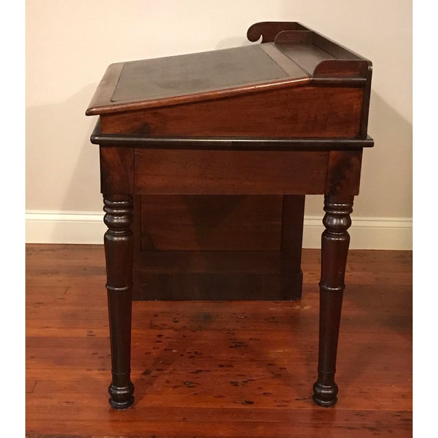 Victorian burlwood walnut slant desk w/ 4 drawers. Made in the late 19th century.