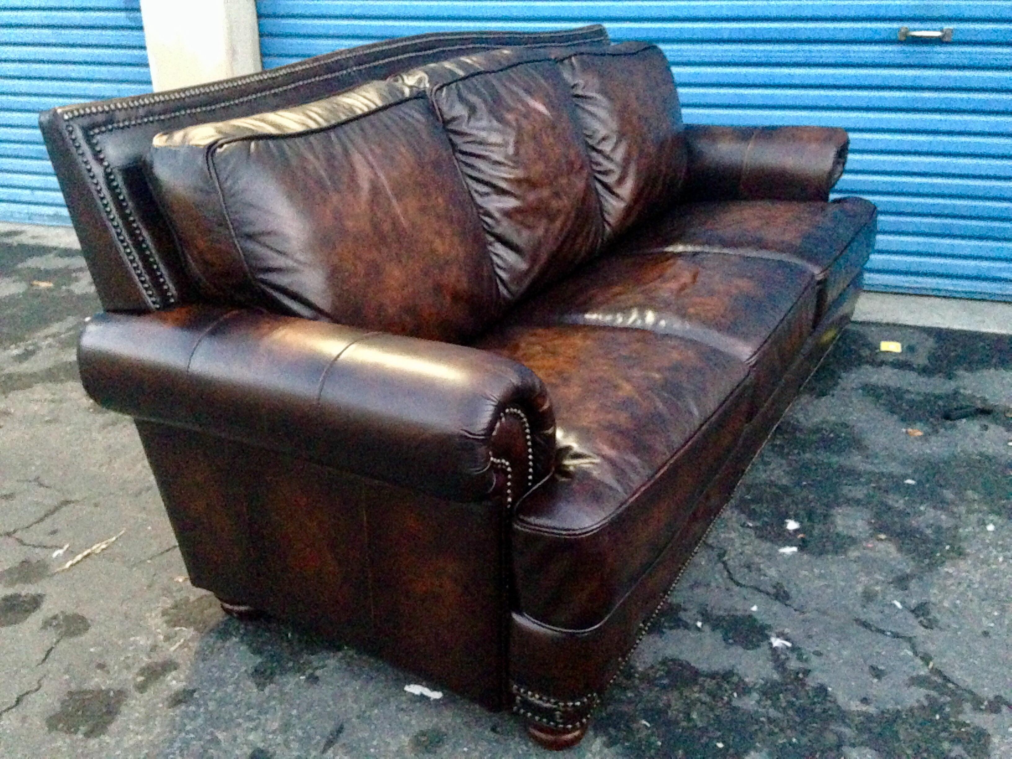 Cigar Brown Leather U0026 Down Feather Filled Lawson Sofa Traditionally  Antiqued, Hand Worked, Two