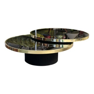 1980s Contemporary Modern Dia Swivel Smoked Glass Brass Coffee Cocktail Table For Sale