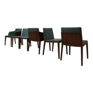 Poltrona Frau Oak and Leather Dining Chairs - Set of 6 For Sale