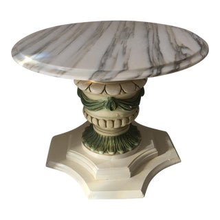 Italian Marble Top Draped Pedestal /Table For Sale