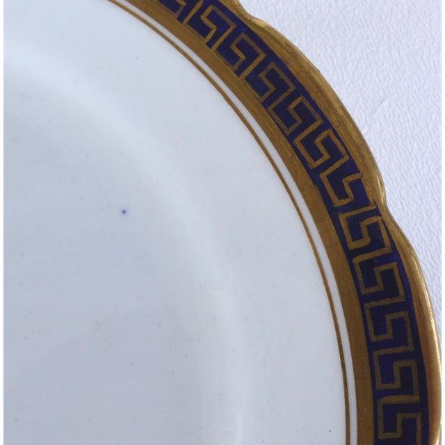 Blue Desert Set W/ Blue & Gold Greek Key by Jackson & Coslinc , England- Set of 8 For Sale - Image 8 of 12